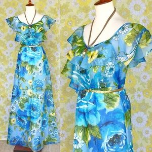 Vintage🌼60s/70s Floral Ruffled Maxi Summer Dress